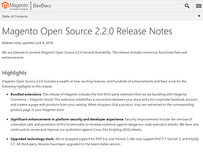 Magento Open Source 2.2.0 Release Notes