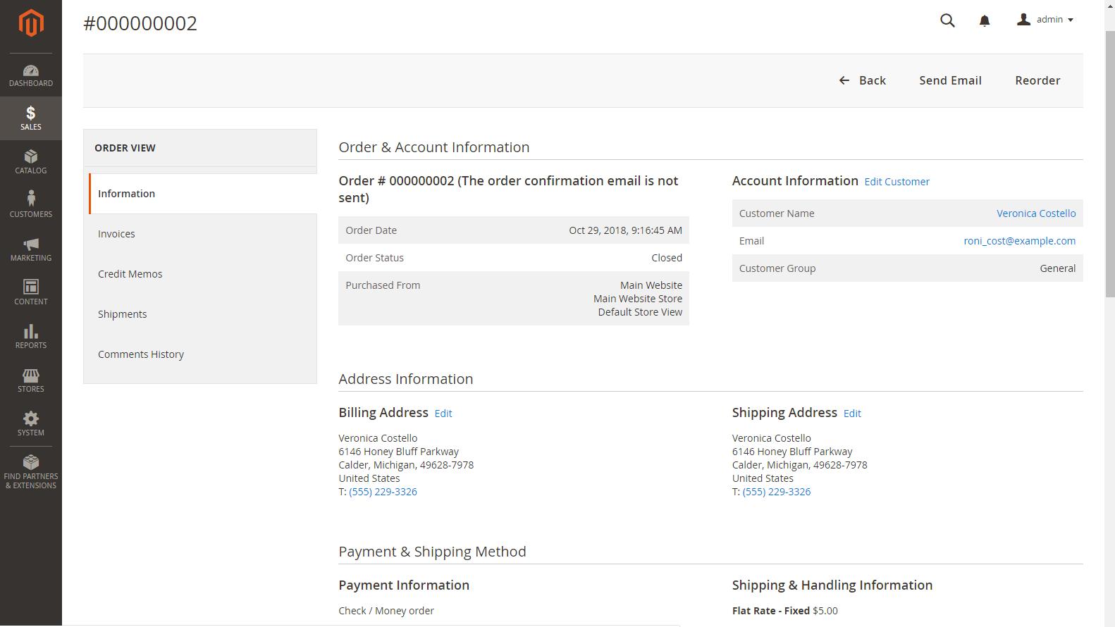 Magento 2 Admin panel - Detail objednávky