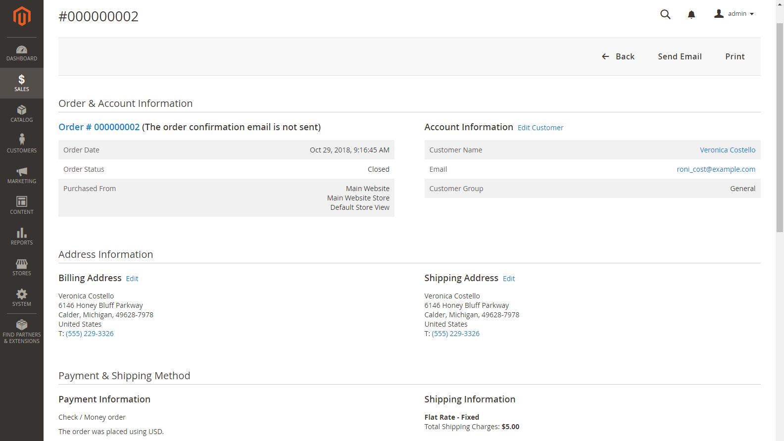 Magento 2 Admin panel - Faktura k objednávce