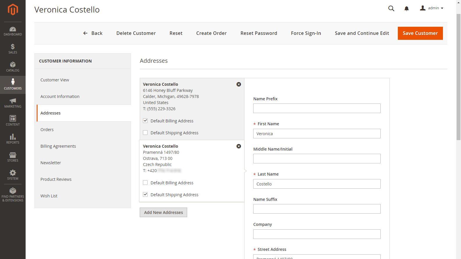 Magento 2 Admin panel - Zákazníci