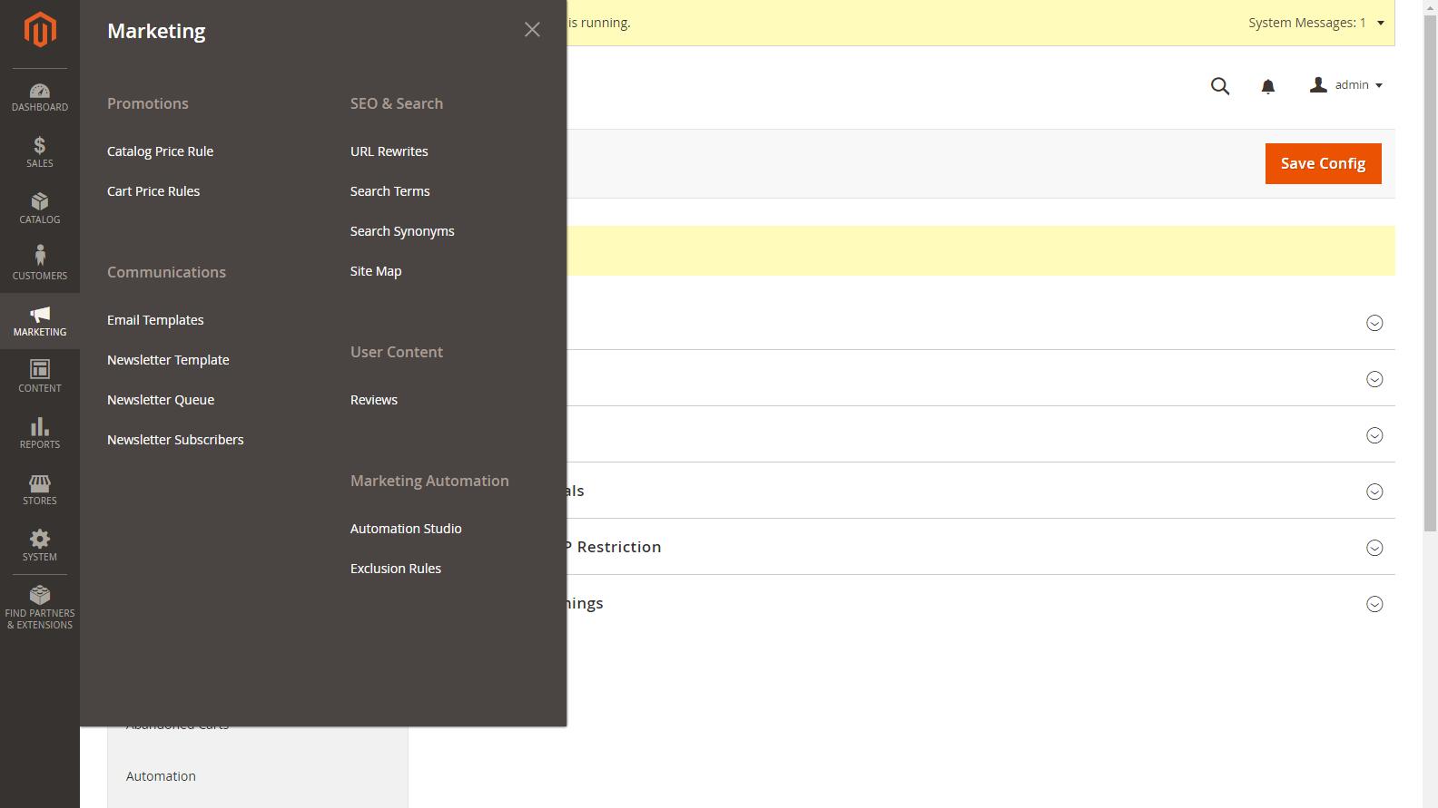 Magento 2 Admin panel - Marketing menu
