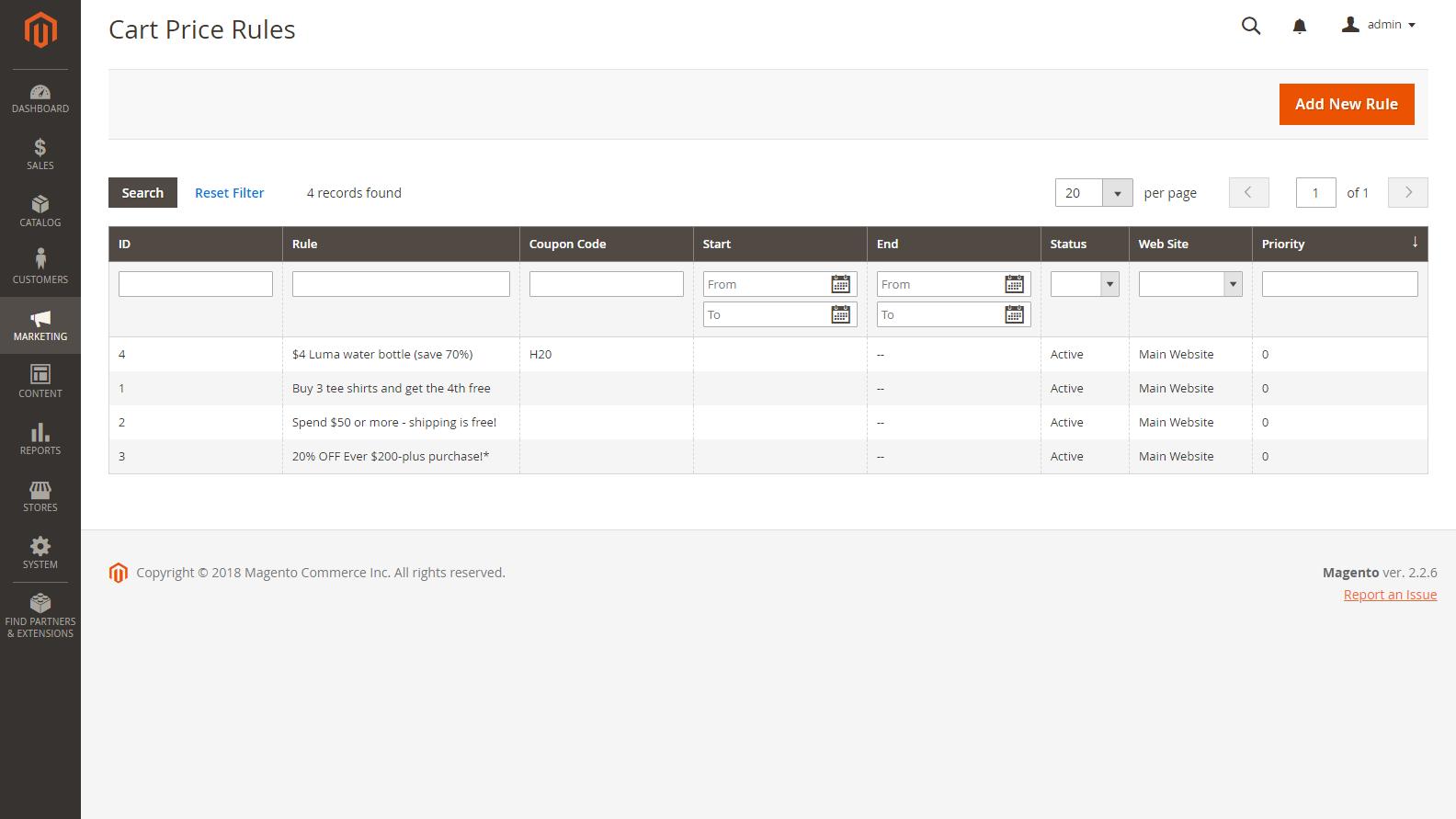Magento 2 Admin panel - Cenová pravidla