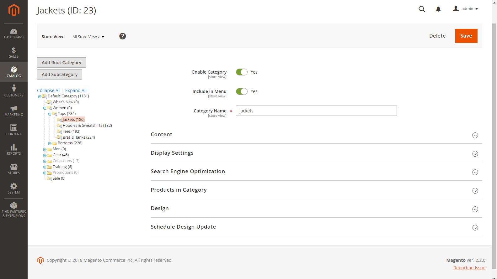 Magento 2 Admin panel - Kategorie