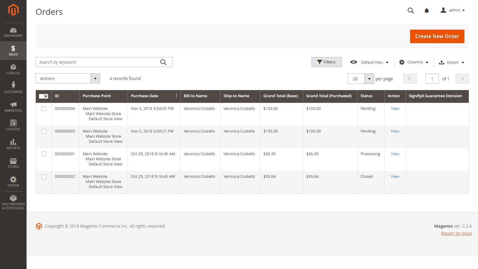 Magento 2 Admin panel - Přehled objednávek