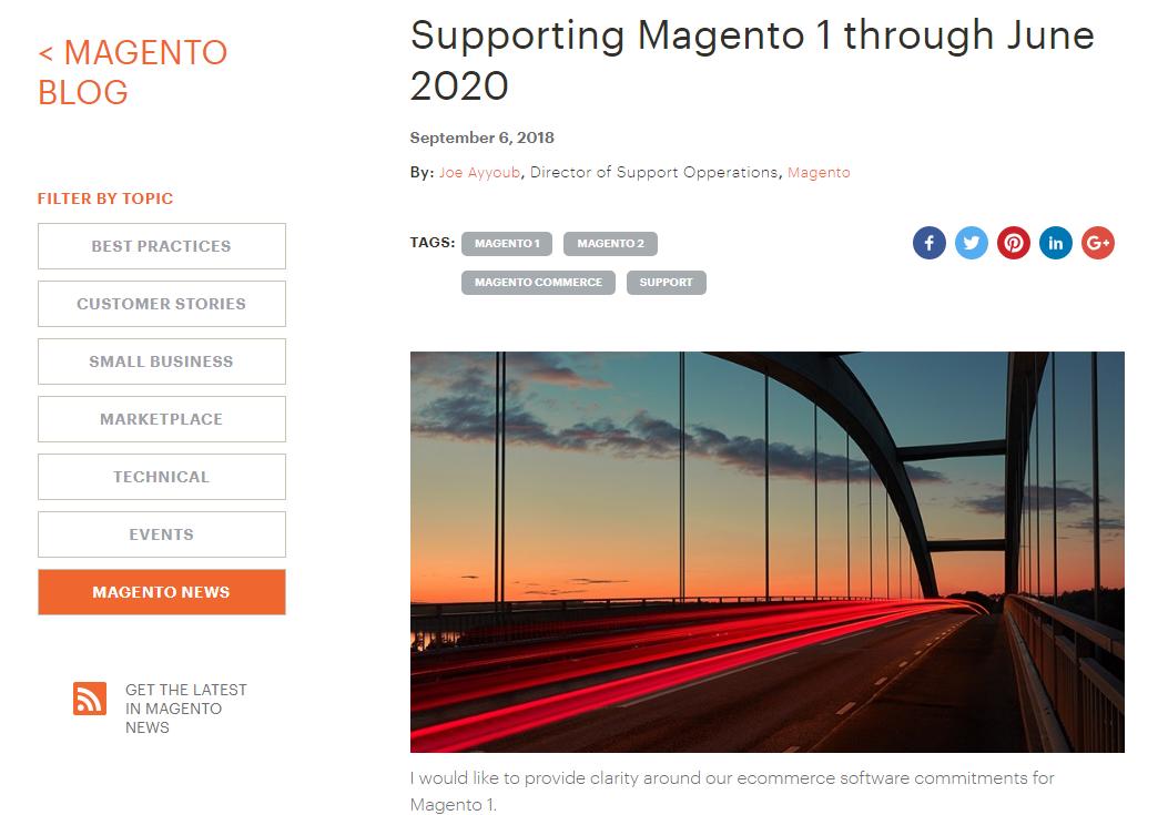 Oznámení na blogu magento.com