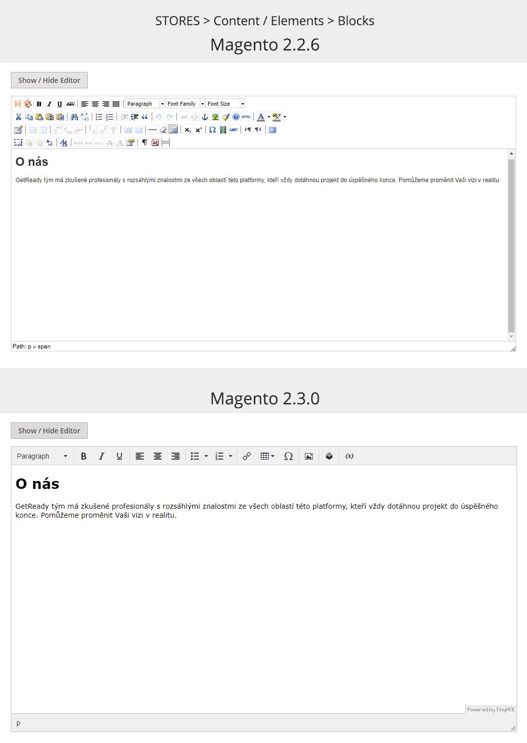 Magento WYSIWYG editor - text a nadpis H1 ve wysiwyg editoru