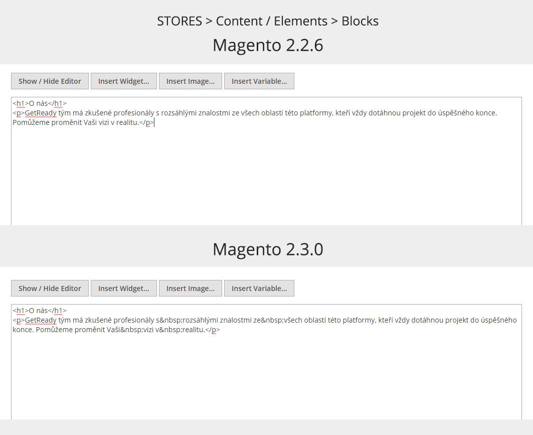 Magento WYSIWYG editor - text a nadpis H1 v HTML kódu