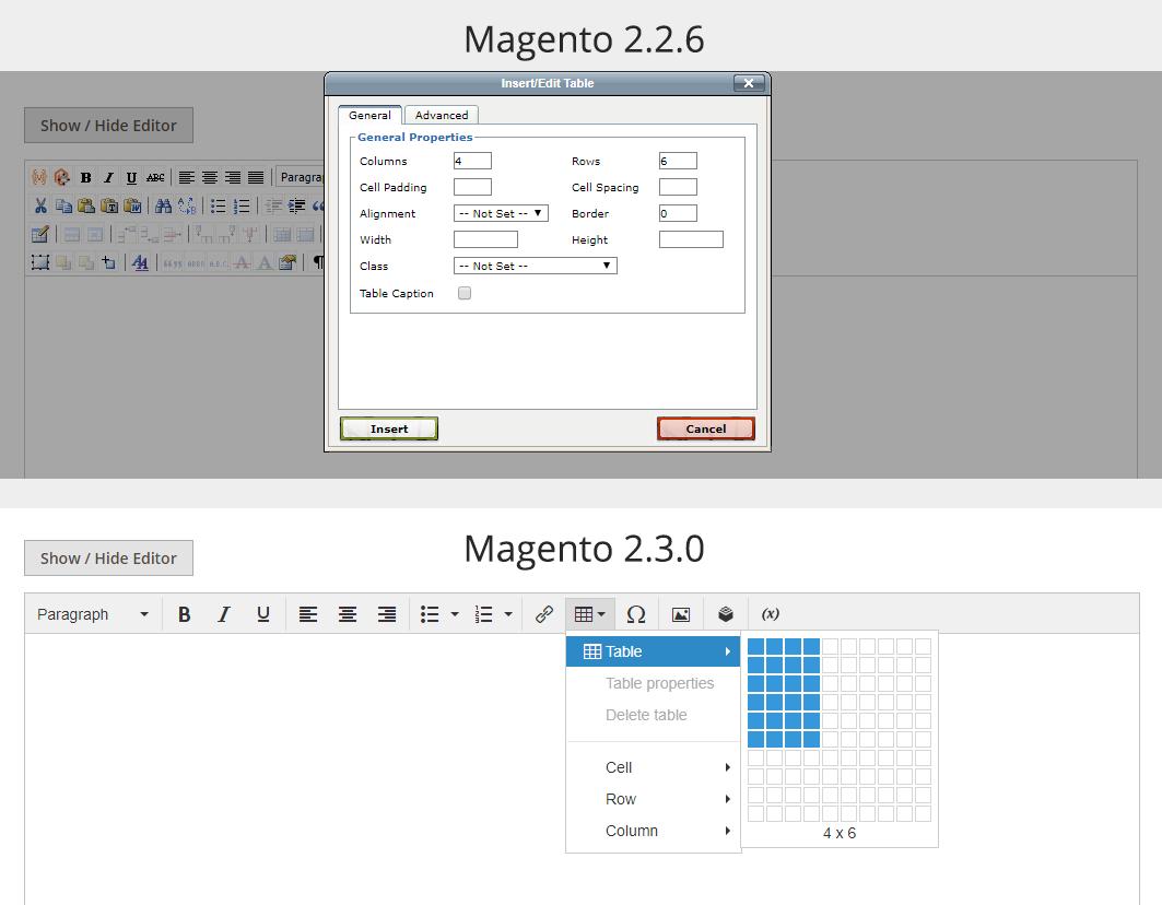 Magento - vytvoření tabulky ve starém a novém wysiwyg editoru