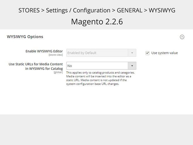 Magento 2.2.6 WYSIWYG editor - konfigurace