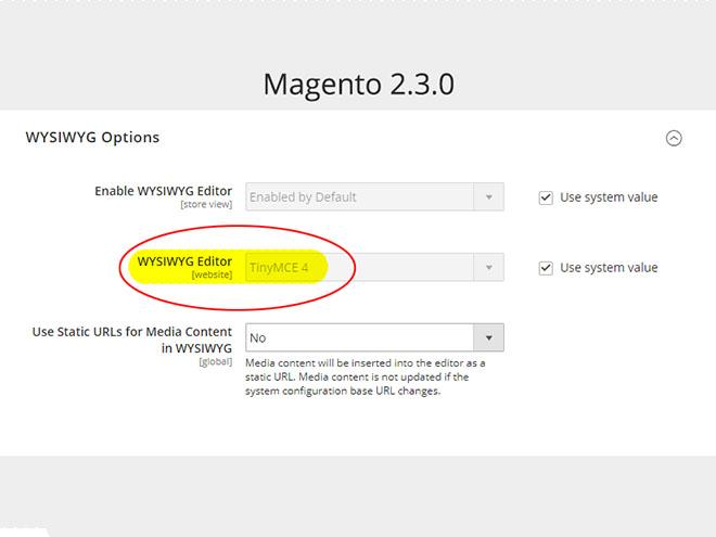 Magento 2.3.0 WYSIWYG editor - konfigurace