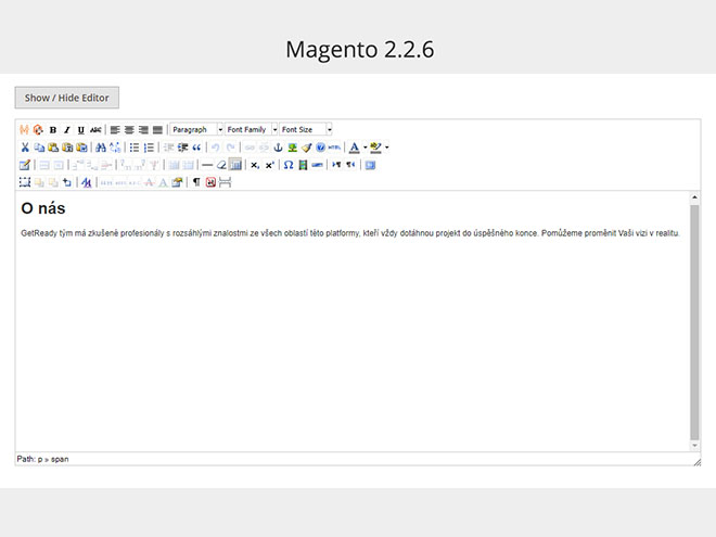 Magento 2.2.6 WYSIWYG editor - text a nadpis H1 ve wysiwyg editoru