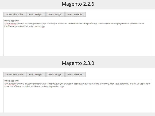 Magento 2.3.0 WYSIWYG editor - text a nadpis H1 v HTML kódu