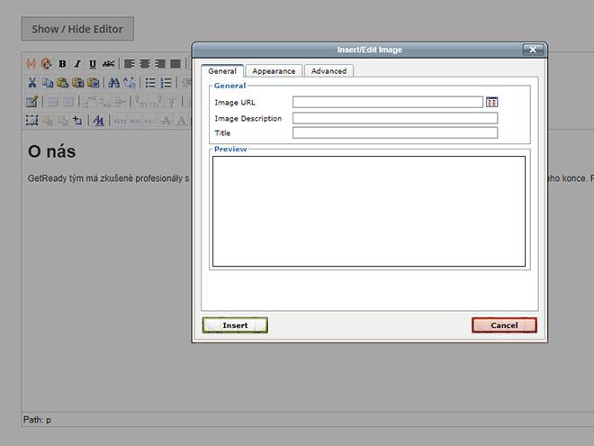 Magento - starý wysiwyg editor - okno pro nahrání obrázku