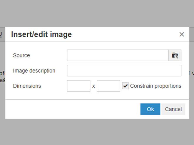 Magento - nový wysiwyg editor - okno pro nahrání obrázku