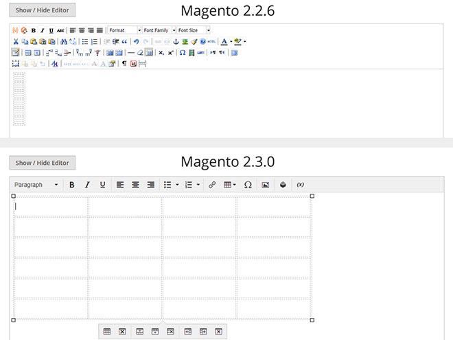 Magento - prázdná tabulka ve starém a novém wysiwyg editoru