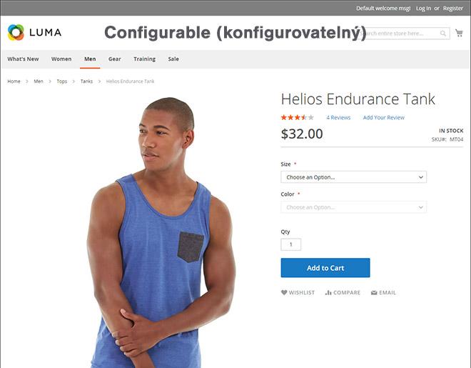 Magento typy produktů: Ukázka konfigurovatelného (configurable) produktu