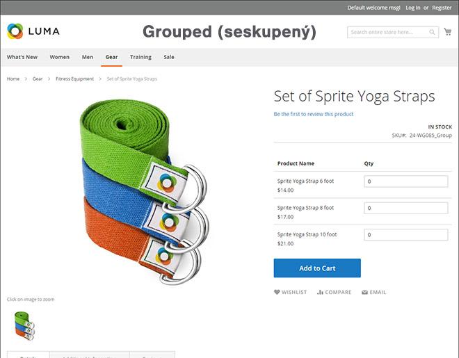 Magento typy produktů: Ukázka seskupeného (grouped) produktu