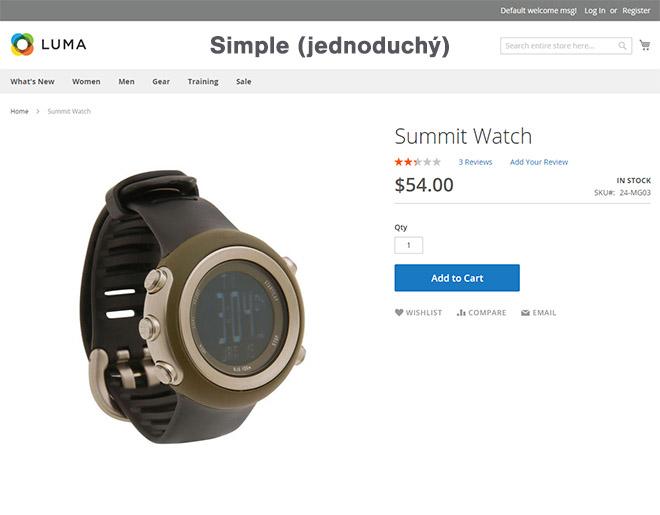 Magento typy produktů: Ukázka jednoduchého (simple) produktu