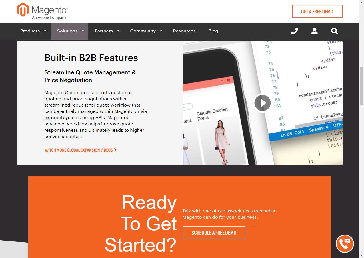 Magento B2B features. Zdroj: magento.com