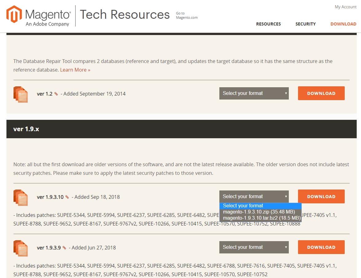 Magento download verze 1.9.3.10