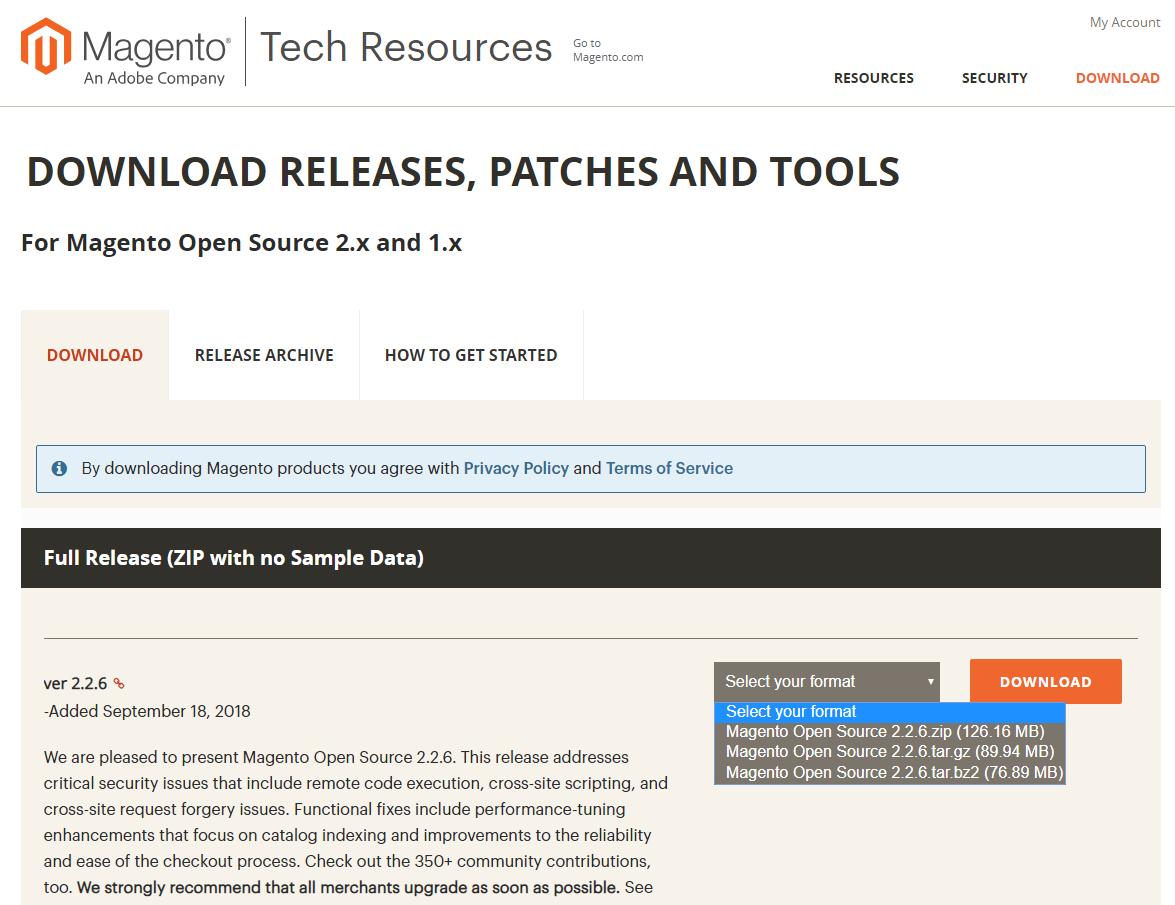 Magento download verze 2.2.6