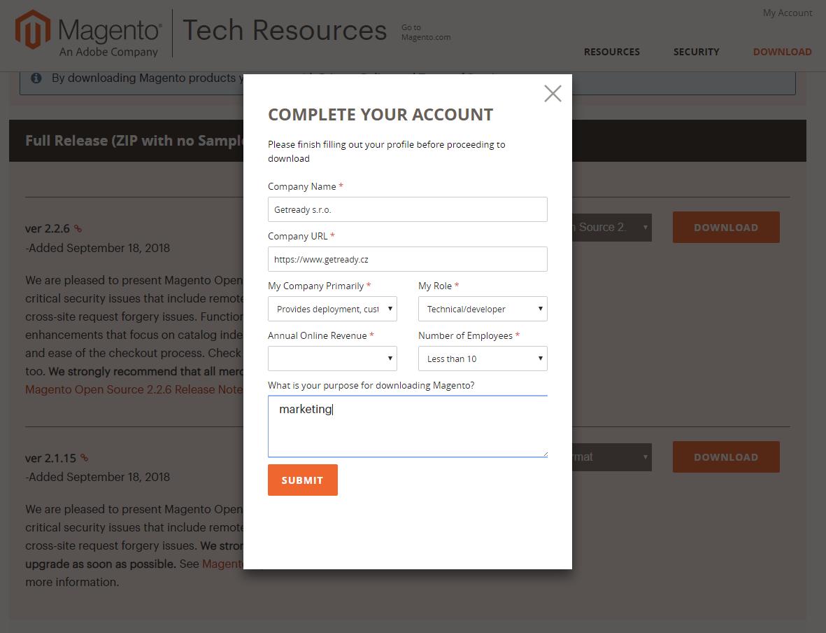 Doplnění povinných údajů před downloadem Magento
