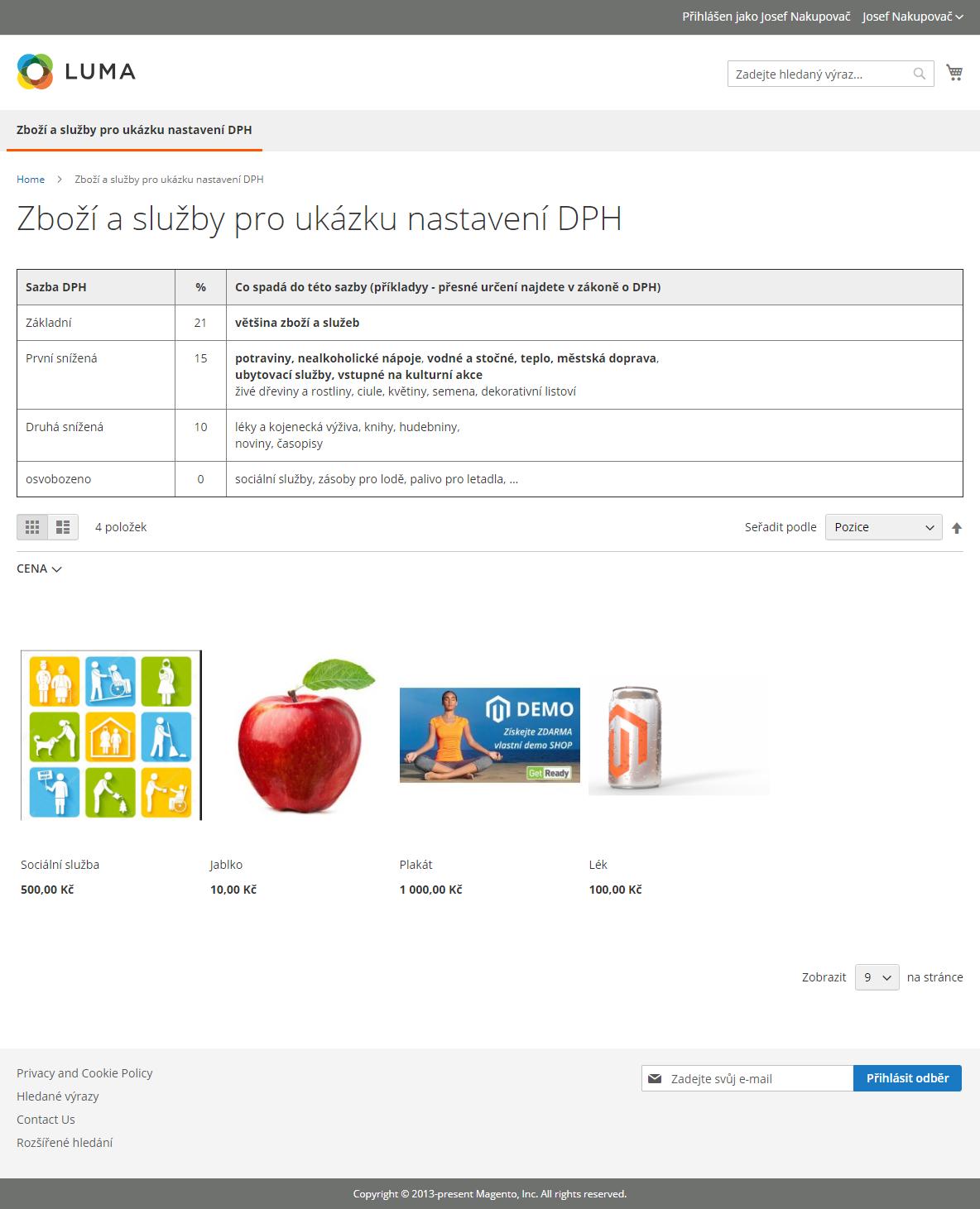 Magento 2 a DPH: kategorie demonstračního e-shopu