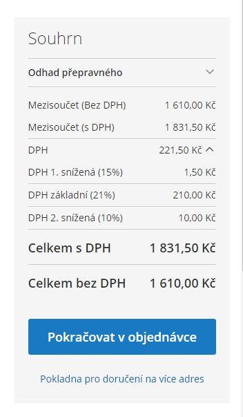 Magento 2 a DPH: souhrn cen v košíku