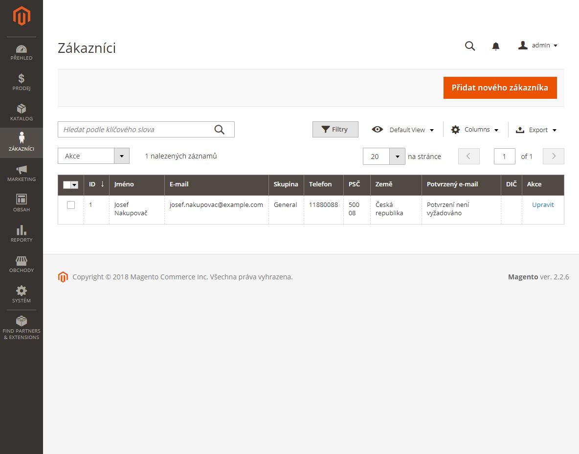 Magento 2 a DPH: zákazníci demonstračního e-shopu