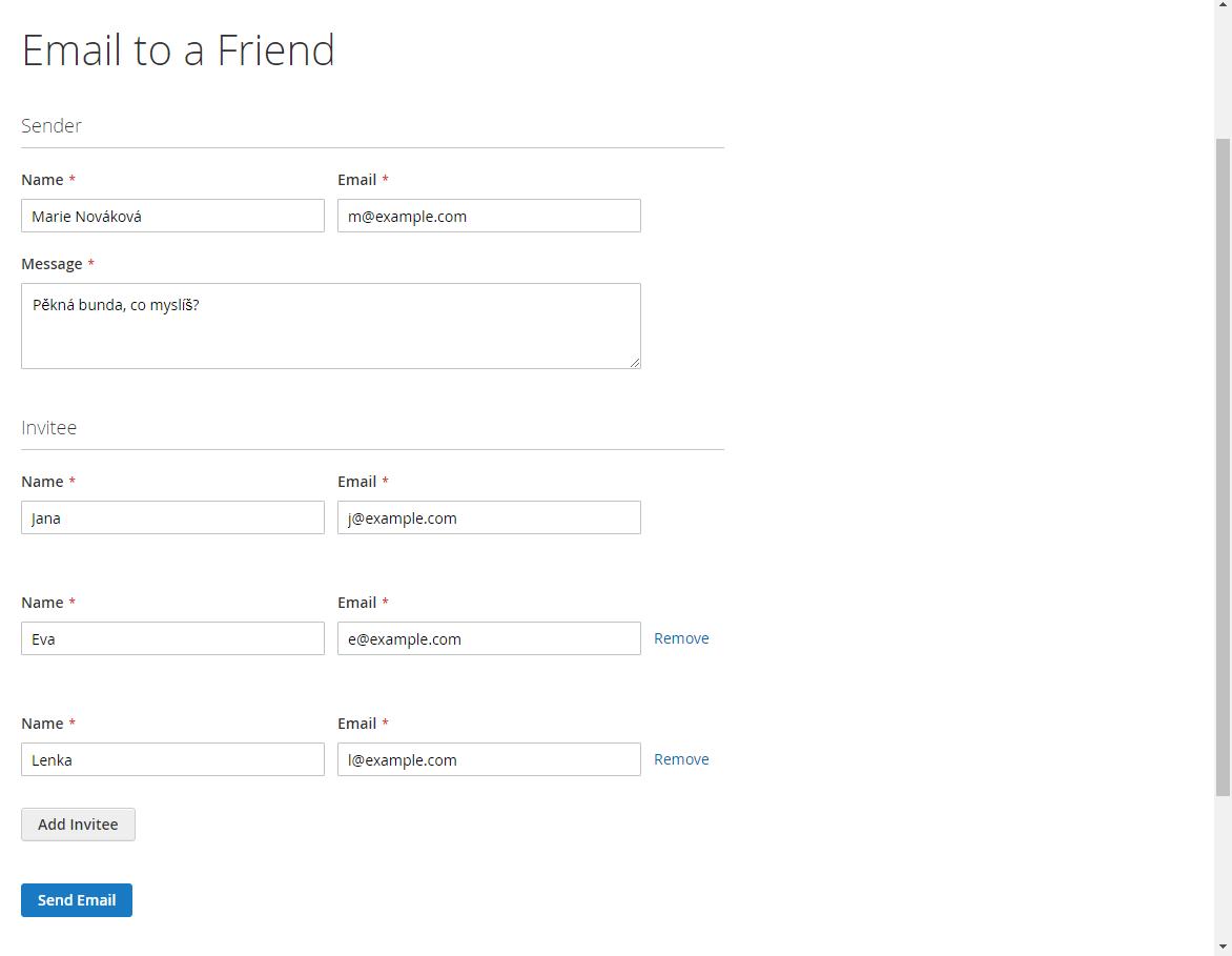 Obrázek: Ukázka formuláře pro poslání 'e-mailu příteli' (Magento2 - LUMA theme)