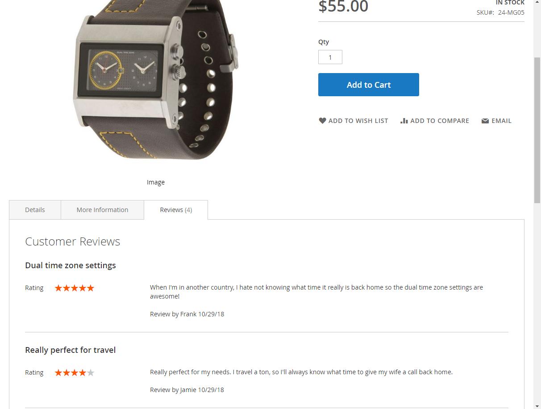 Obrázek: Záložka 'Reviews' v produktovém detailu. (Magento2)