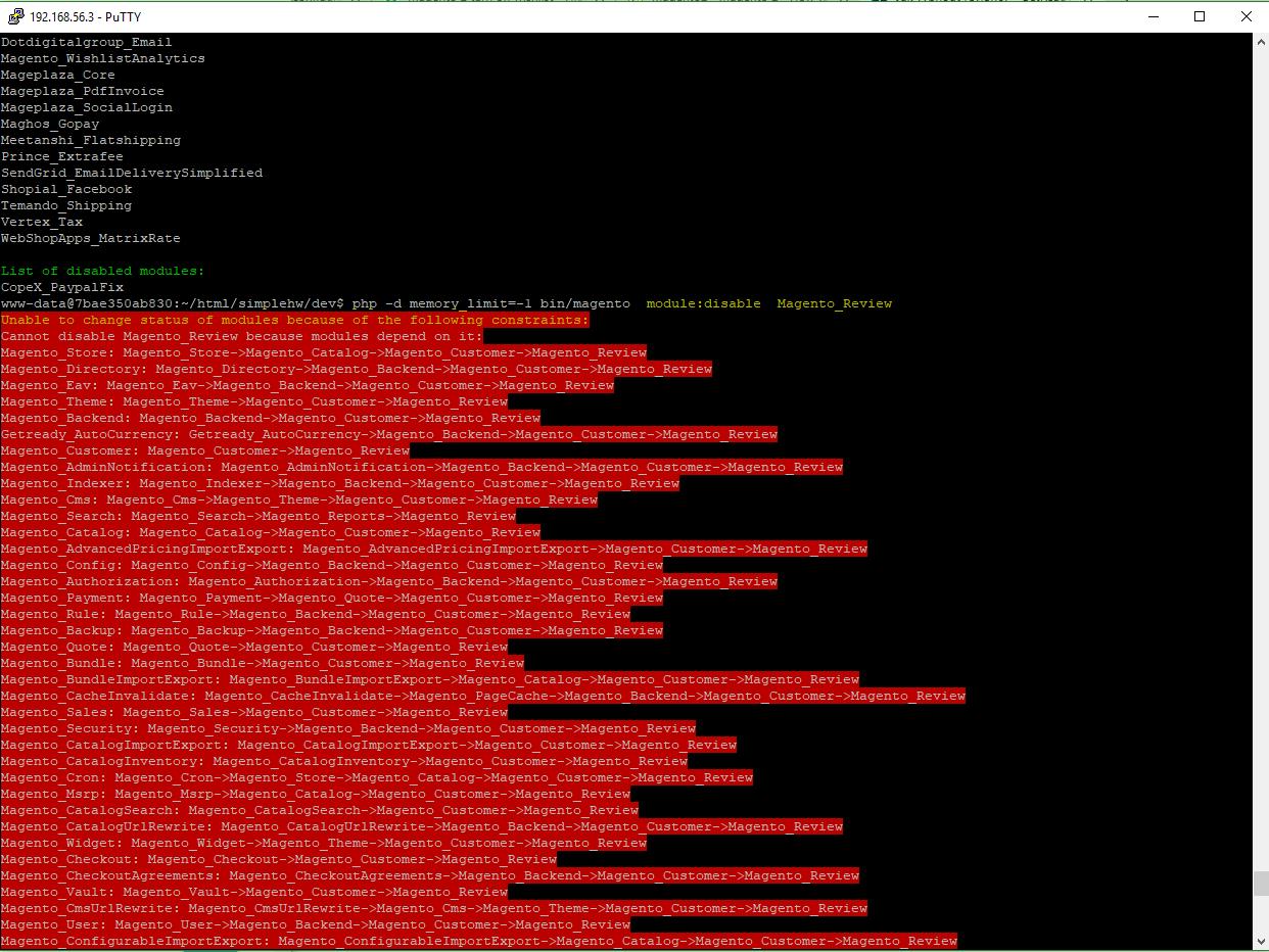 Obrázek: Konfigurace Magento2 pomocí CLI. Neúspěšný pokus o deaktivaci modulu Magento_Review.