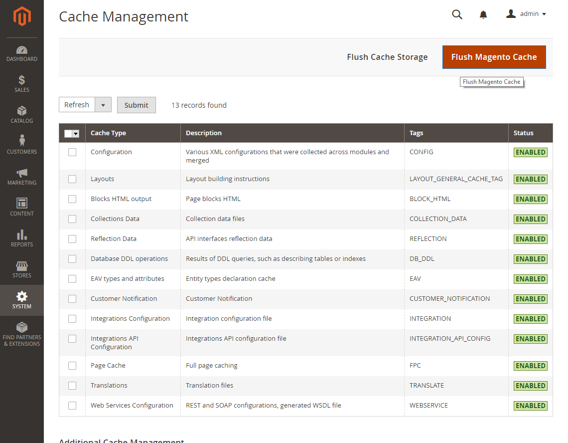 Obrázek: Magento2, administrace. Správa cache (cache management).