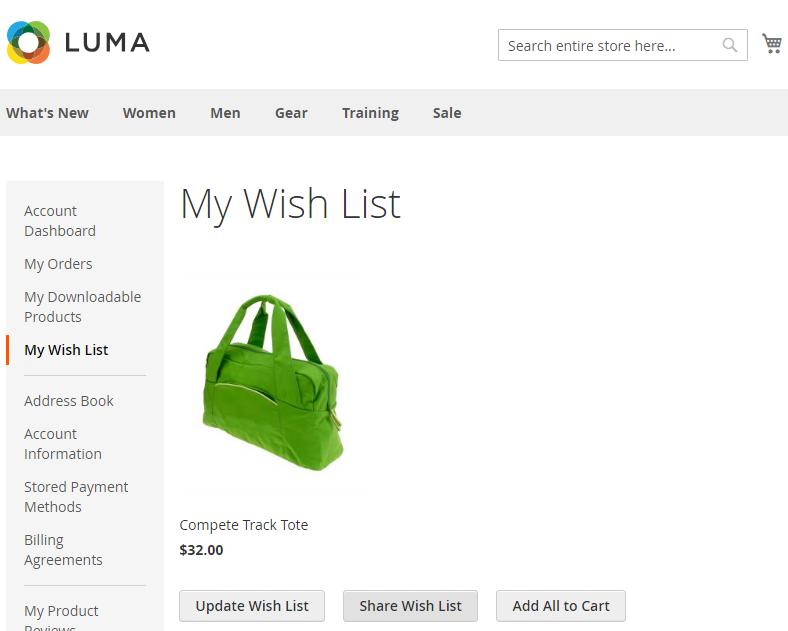 Obrázek: Seznam přání (wishlist) s jedním produktem v Magento2