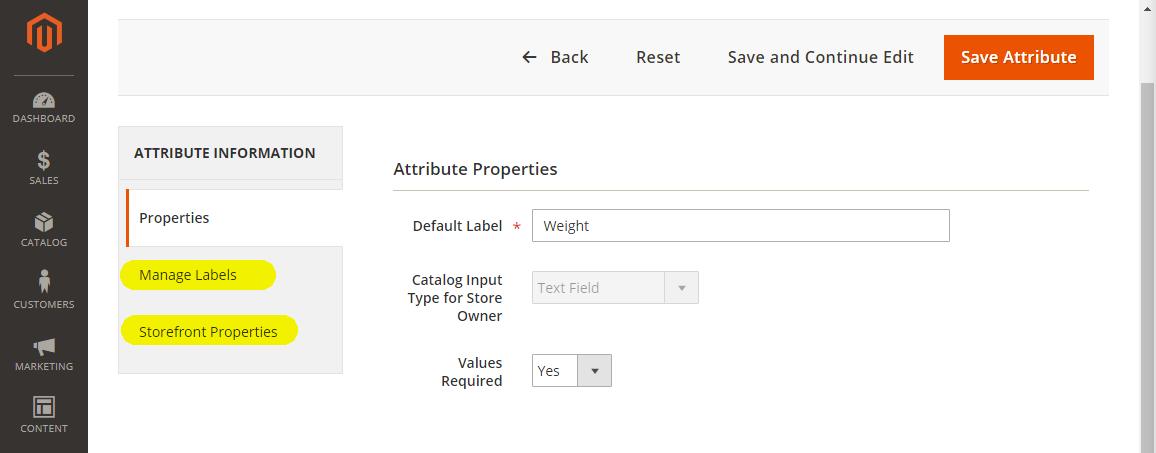 Magento2: Nastavení vlastností a označení atributu